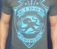 Eidos Signature Collection T-Shirt – Heather Grey with Blue Logo